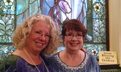 Maureen (right) with a friend at First Church in Boston