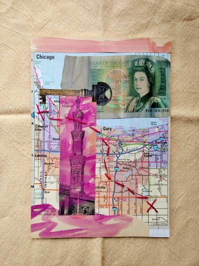 Collage entitled Travel Bug