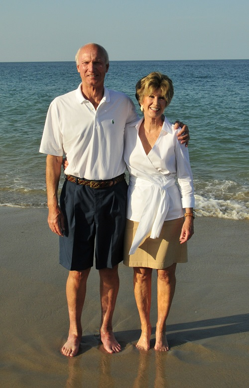 Judy and Jay on the beach in Vero at their 50th anniversary in 2012