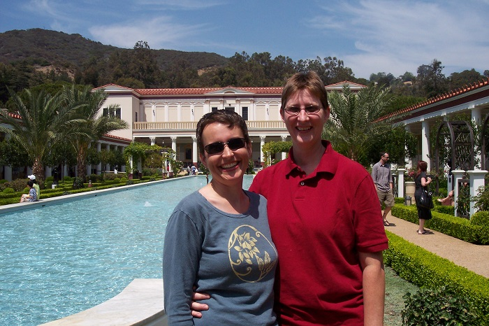 Laura and Liz at the Getty Villa in Pacific Palisades, CA