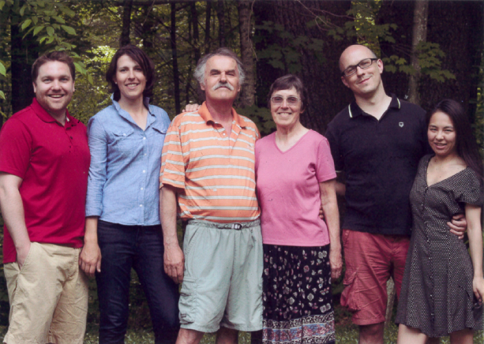 Jane and John with family at their 40th Wedding Anniversary,  Vermont: Rick & Laura Johnson, John, Jane, Michael Terebey, Yan Ma