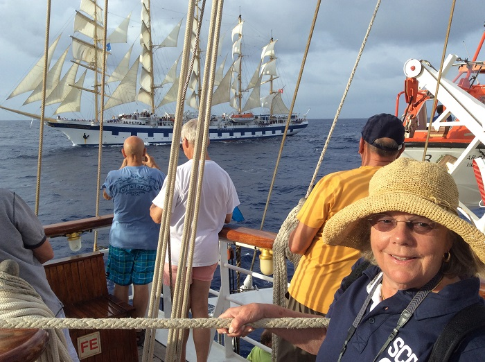 Star Clipper and Royal Clipper in the North Atlantic, with Judy