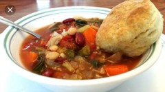 Homemade Minestrone Soup and Flaky Baking Powder Biscuits