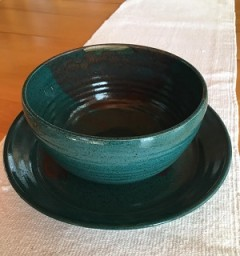 Pottery Soup Bowl and Plate