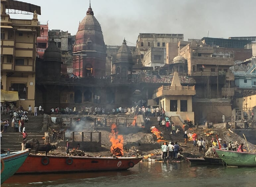 "Harishchandra Ghat, one of the ""burning ghats"" on the Ganges in Varanasi"