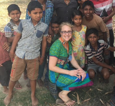 Dr. Audrey with village kids in Dwarikapur