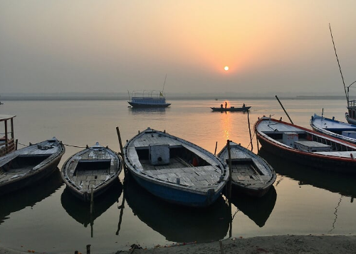 Sunrise on the Ganges at Assi Ghat, Varanasi